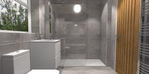 Grey Bathroom Walk-In shower